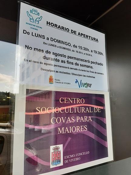 Horario Verano Centro Sociocultural de Covas
